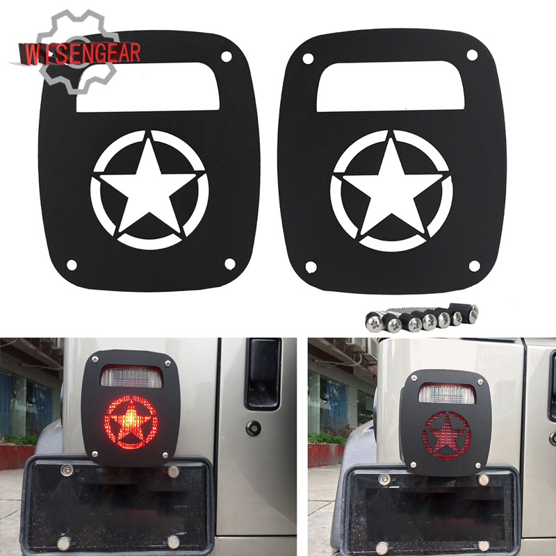 MILITARY STAR Tail Light Guard Set For Jeep Wrangler Rubicon TJ YJ 1987-2006 Taillight Guards Lamp Hoods CEK102