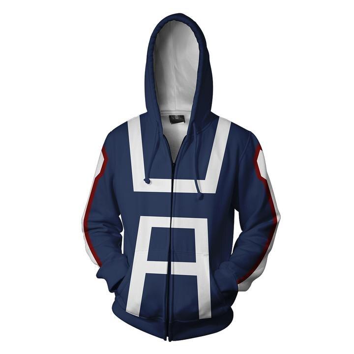 2018 Autumn Winter 3D Print Boku No Hero Academia men Hoodies Sweatshirts Fashion Cosplay Casual Zipper hooded Jacket clothing