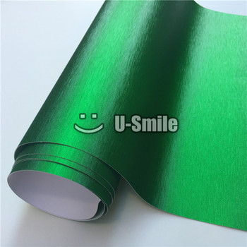 Premium Matte Chrome Brushed Green Vinyl Folie Bubble Free For Car Wrapping image