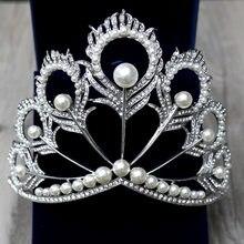 Elegancka kryształowa Tiara Vintage paw ślubne akcesoria do włosów na ślub Quinceanera tiary i korony korowód perły z pałąkiem na głowę