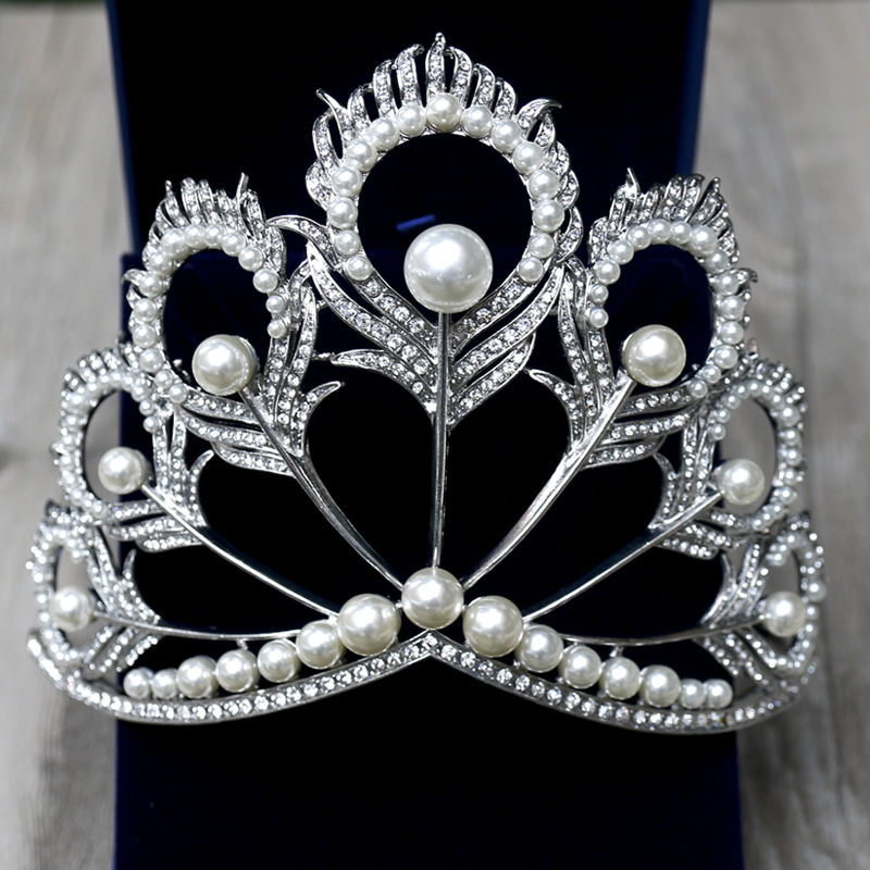 Chic Crystal Tiara Vintage Peacock Bridal Hair Accessories For Wedding Quinceanera Tiaras And Crowns Pageant Pearls Headband