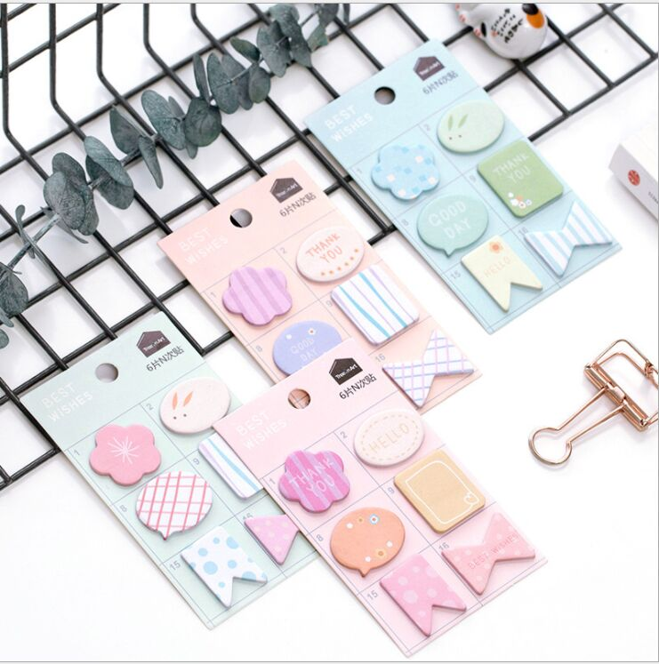 6 design/lot creative prompt notes N Times Memo Pad Sticky Notes Post It Bookmark schedule marker index label mini notepad