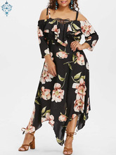 Ameision 2019 Summer Plus Size Half sleeve Dress Fashion Women Off Shoulder Lace Up Flowing Floral Print Ankle-Length Maxi