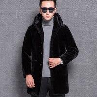 KUYO для мужчин S Зимняя мода из натуральной овечьей кожи Шерсть Мех животных пальто куртка с капюшоном черный