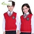 Niños Tejer Serie de Viento Campus Outwear Chaleco Niños Niñas CottonBadge Decoración Suéter Adulto Chaleco de Estilo Británico Con Cuello En V Chaleco