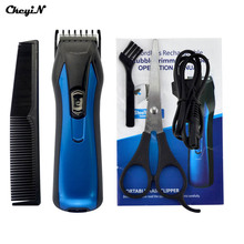 Professional Electric Rechargeable Hair Clipper for Men Blue Color Trimmer Attachment Comb Haircuting Machine Tool Adult or baby