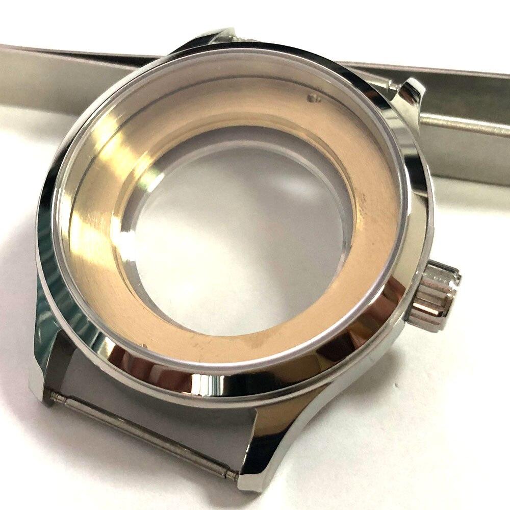 Corgeut 42mm verre saphir poli 316L boîtier en acier inoxydable pour montre fit ETA 2836 2824 miborough 8215 821A mouvement