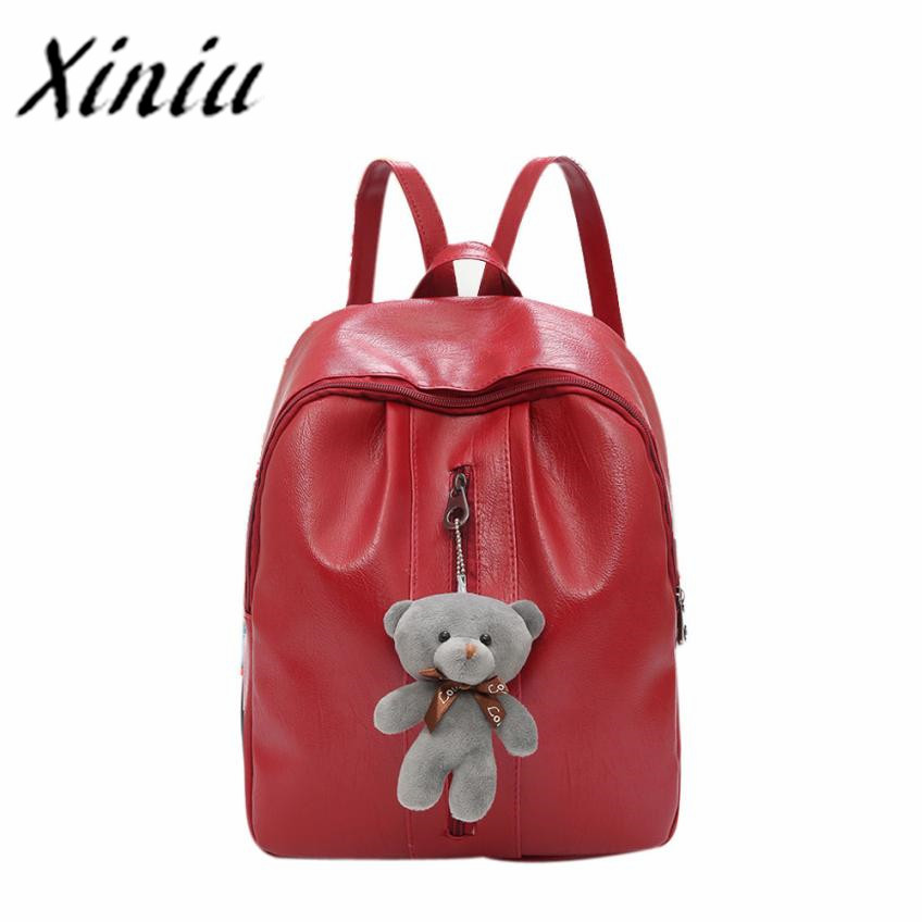Xiniu leather solid backpack for teenage girls back pack women backpack 2017 luxury desi ...