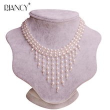Fashion New Women Natural Freshwater Pearl Necklace Multi Layer Tassel Chain Pendant Collar Jewelry