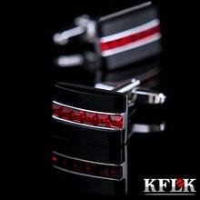 KFLK camicia gemelli per mens regalo Dei Monili di modo del polsino di Marca pulsante Rosso di Cristallo di collegamento di polsino di Alta Qualità abotoaduras gli ospiti