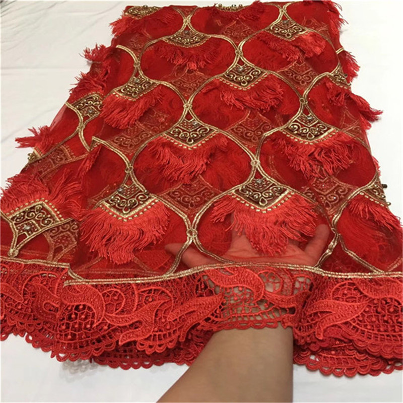 2018 New Design African Dry Lace Fabrics High Quality Cotton Lace Fabric Swiss Voile With Beads