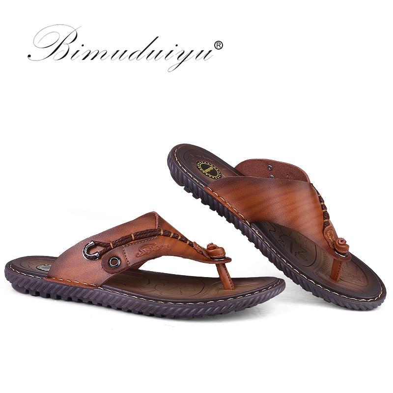 BIMUDUIYU Flip Flops de brand de lux Soft confortabile din piele din - Pantofi bărbați - Fotografie 2