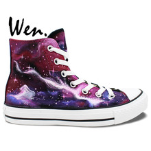 Wen Original Unisex Hand Painted Shoes Custom Design Pink Purple Galaxy Nebula Women Men's High Top Canvas Shoes for Gifts