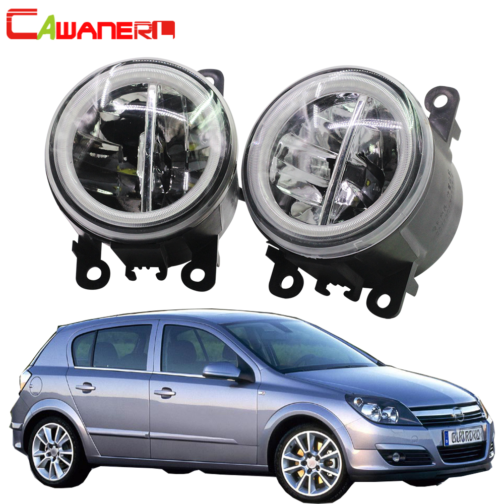 Cawanerl For Opel Astra G H 1998 2010 Car 4000LM LED Bulb Fog Light Angel Eye