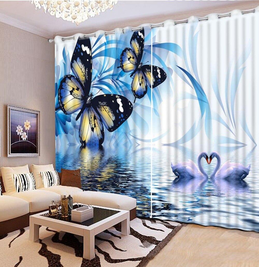 Blue curtain living room - Custom Photo Bedding Decorative Window Curtains Blue Flower Butterfly Window Curtain Living Room 3d Curtains Flowers