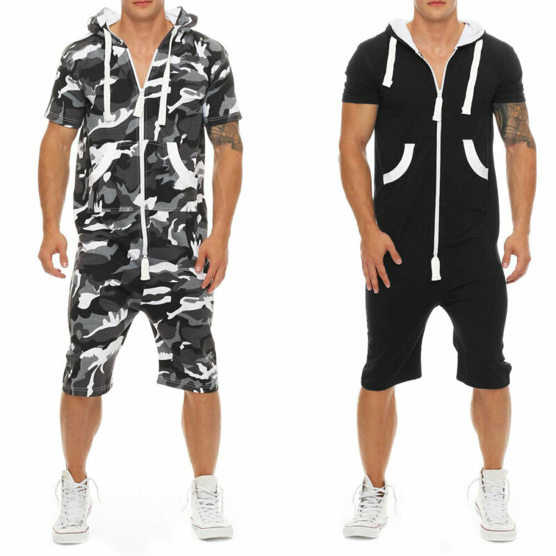 Men Cotton Baggy Short Sleeve Pant One-Piece Suits Jumpsuit Playsuits Romper New 2019