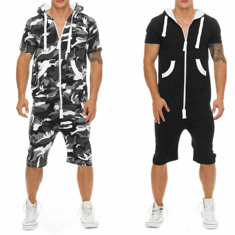 Men Cotton Baggy Short Sleeve Pant One-Piece Suits Jumpsuit Playsuits Romper New 2019