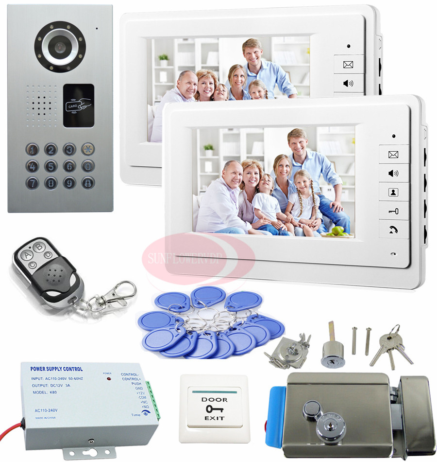 Video Intercom 2 Monitors Intercom System With Lock 7'' Color TFT LCD Door Phone IP65 Waterproof Intercoms For Homes Kit rfid keyboard ip65 waterproof video doorphone intercom system for 3 apartments with 7 color lcd video intercom system in stock