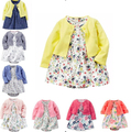 Baby Girls Spring And Summer set Cotton Romper Dress Infants Cardigan Jacket Long sleeve Jumpsuit Skirt 2pcs Suit