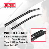 "Wiper Blade for Renault Dacia Duster (2017 Onwards) 1set 24""+18"" Flat Aero Beam Windscreen Wiper Frameless Soft Boneless Blades