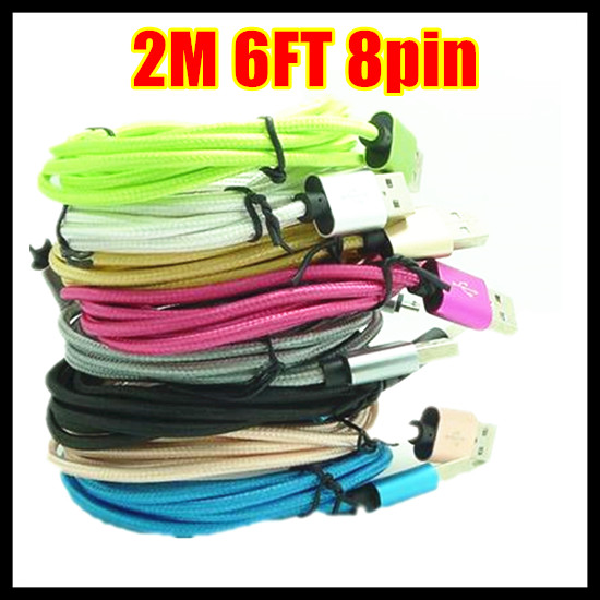 1m 2m Aluminum Alloy 8 Pin USB Charging Cable Accessory Bundles For iPhone 5 5S 5C