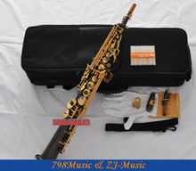 Black Nickel Straight Soprano Saxophone Sax High F# G With Case 10 Reeds