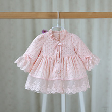 2017 New Arrival Baby Dress Long Sleeve O-Neck A-line Baby Dress Autumn Pink/White/Light Blue Color Princess Dress Baby 0-2T