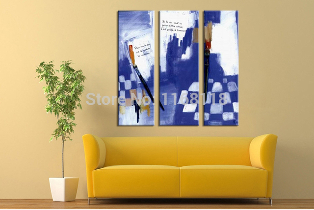3 piece decorative art set modern wall art Abstract Blue color hand ...
