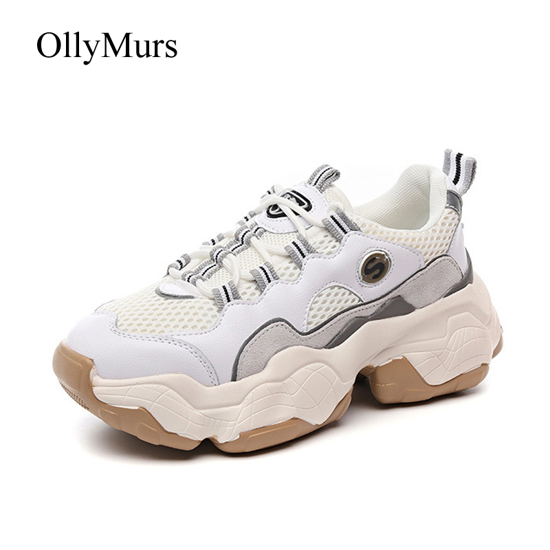Blanches Mujer Chunky Beige Chaussures blanc Zapatos Marque Femme Respirant Printemps De Nouveau Platfrom Femmes Sneakers Lady Patchwork 1gCxqBw