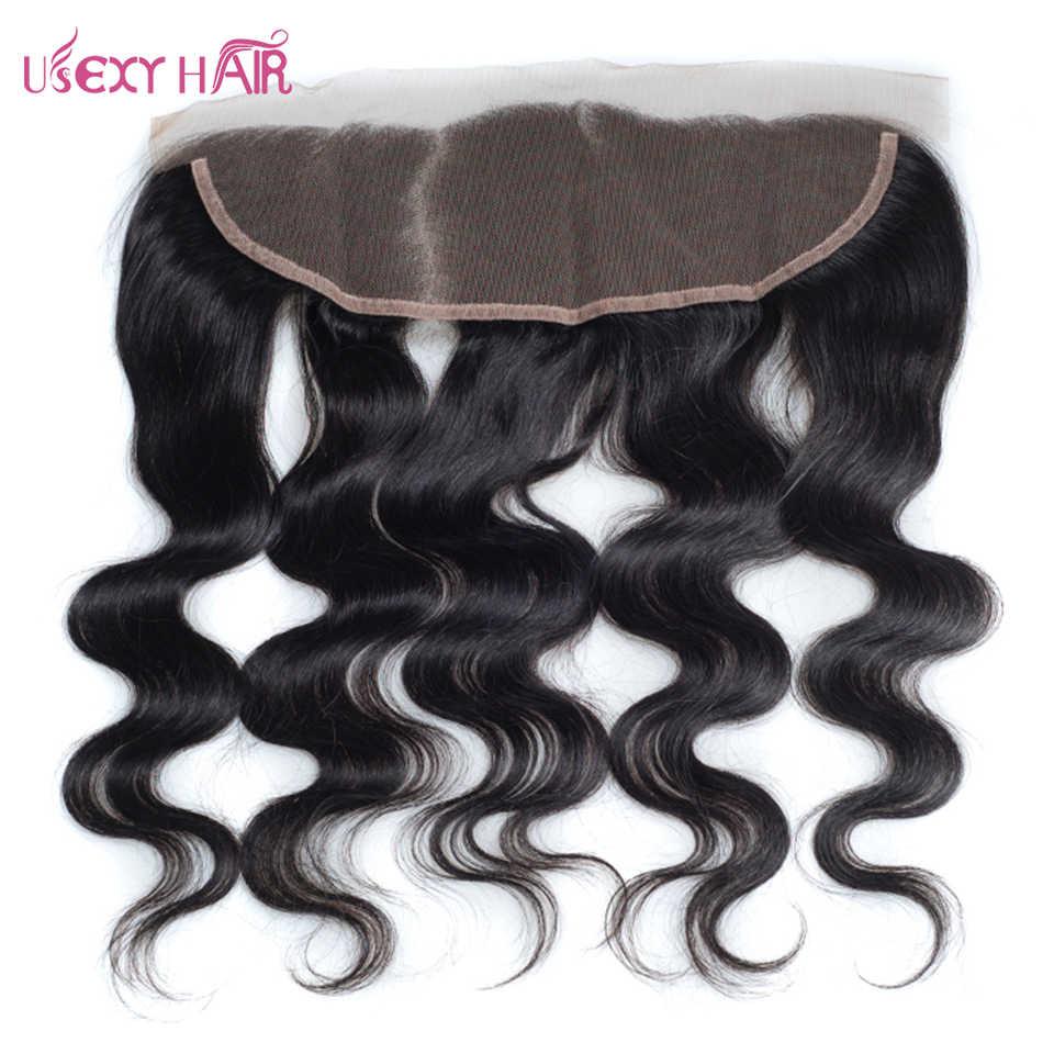 USEXY волосы бразильские тела волна человеческие волосы 13*4 свободная часть кружева Фронтальная застежка с детскими волосами 1 пучок 8-20 дюймов не реми волосы