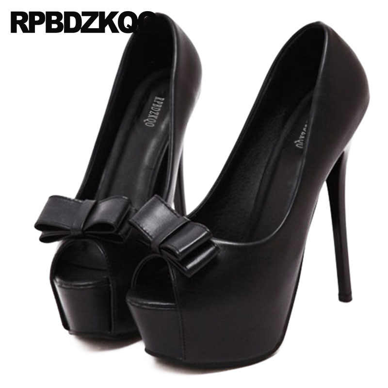 Silver Platform Women Shoes Size 4 34 Bow Thin 14cm Catwalk Extreme Pumps  Super 2018 Fetish d7936352ef15