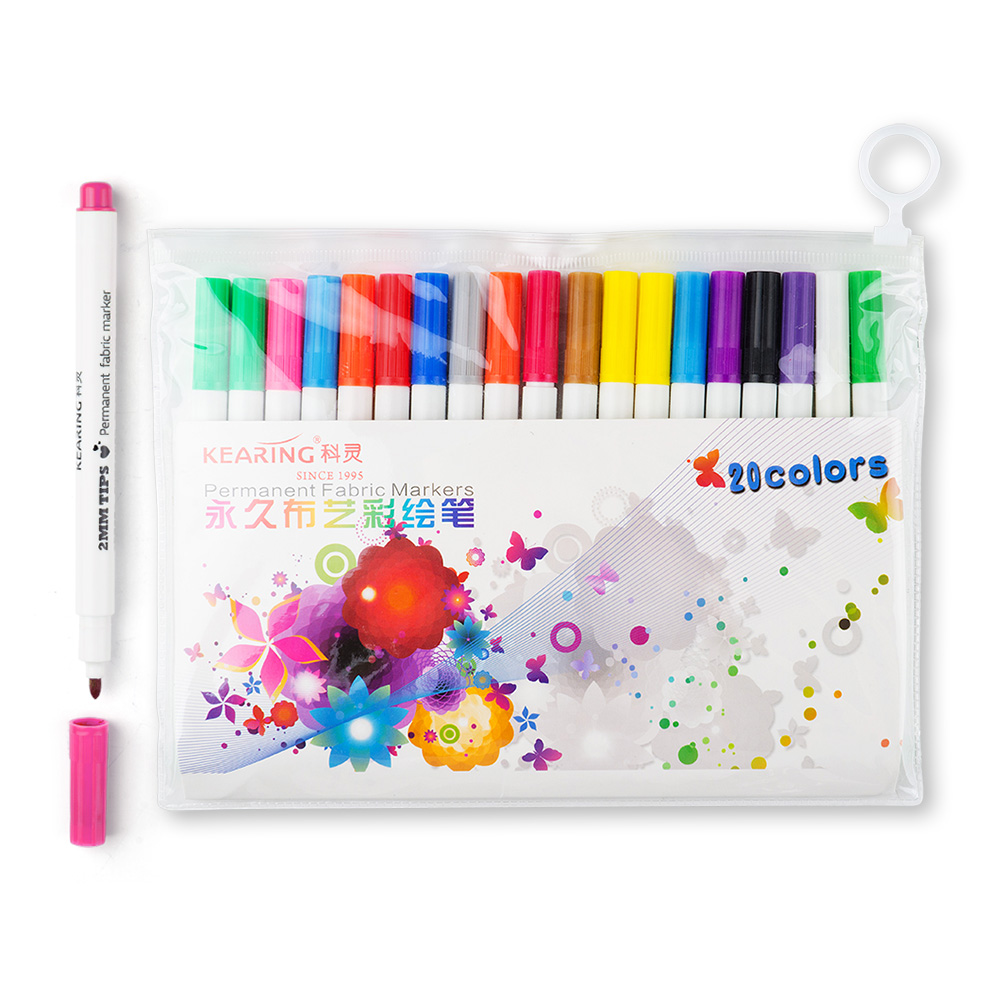 20 Colors Set Paint Markers Fabric Permanent Marker Pen Non-toxic Suittable for Textile стринги мужские soft line с молнией черные m l