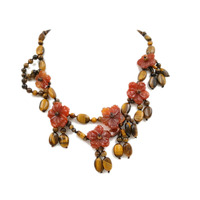 Lii Ji Natural Tiger S Eye Red Agate Flowers With Jade Toggle Clasp Necklace