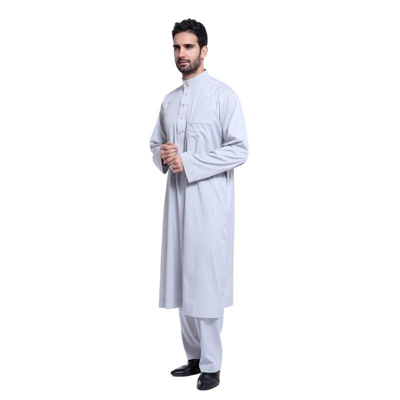 2017 New Muslim Men Long Sleeve Thobe Islamic Clothing Saudi Arab Moslim Jurk Clothing Mens Kaftan Thobe Plus Size