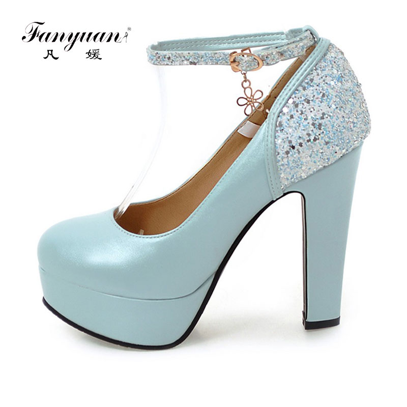 Fanyuan Spring Ankle Strap Pumps Shoes High Heels Chunky Platform Shoes Women Sexy Mixed Bling Club Party Wedding Shoes Woman big size 32 44 ankle strap patch color super hoof high heels platform shoes woman spring summer pumps party dress shoes sexy