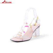 2019 New Womens Sandals Shoes PVC Transparent Sandals Fashion Clear Heels Ladies High Heel Buckle Sandals 7cm plus size 35-43(China)