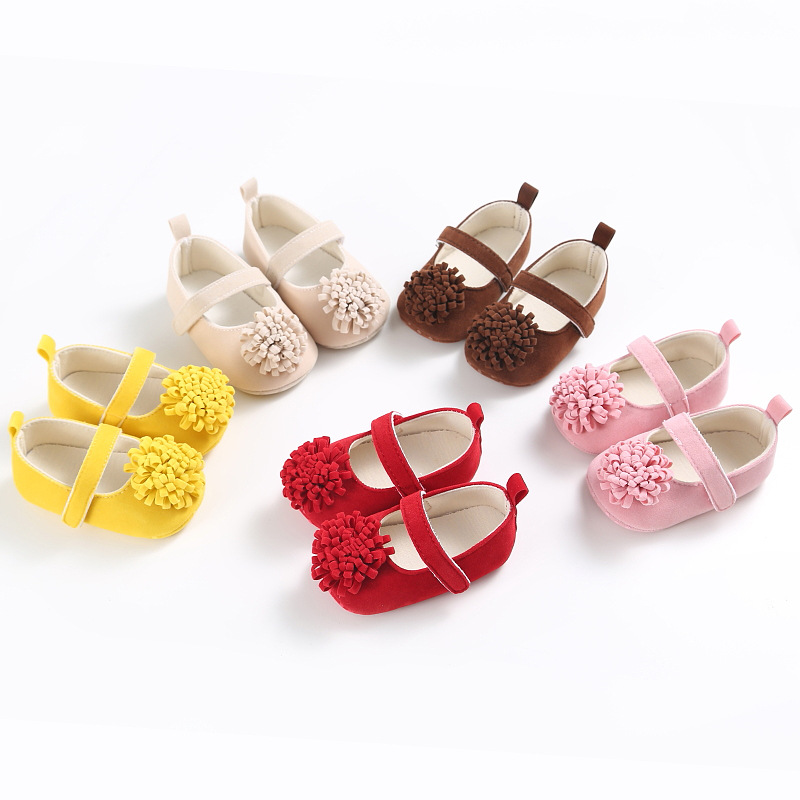 Sweet Big Flower Solid Newborn Baby Girls Princess Soft Soled First Walkers font b Shoes b