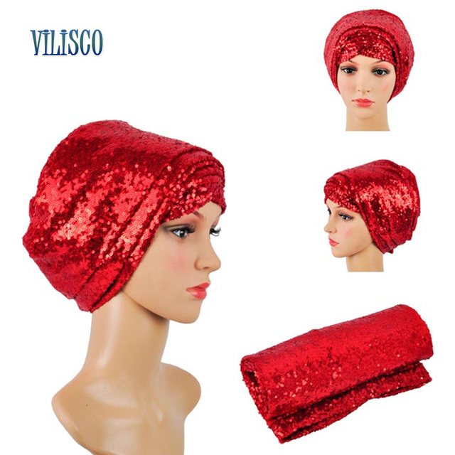Multi-colored Headwear Sequin Turban African Headwrap African Headties Sego Gele Head Tie for Women Party Winter Headscarf XH05 5