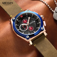 Megir Men's Army Chronograph Quartz Watches Leather 3 atm Waterproof Sports Wristwatch for Man Relogios Masculino 2098 Rose Blue