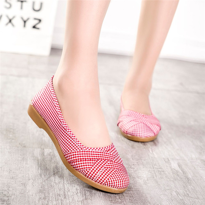 fashion women one-legged Lazy strip plaid cloth shoes lady cool spring autumn casual slip on breathable shoes soft loafers #40A xiaying smile spring autumn winter style woman shoes casual fashion cool increased internal shoes slip on rubber women shoes