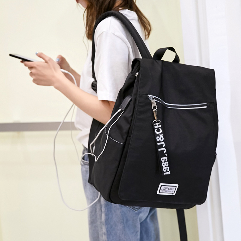 New backpack junior high school student bag casual female USB rechargeable waterproof Oxford cloth