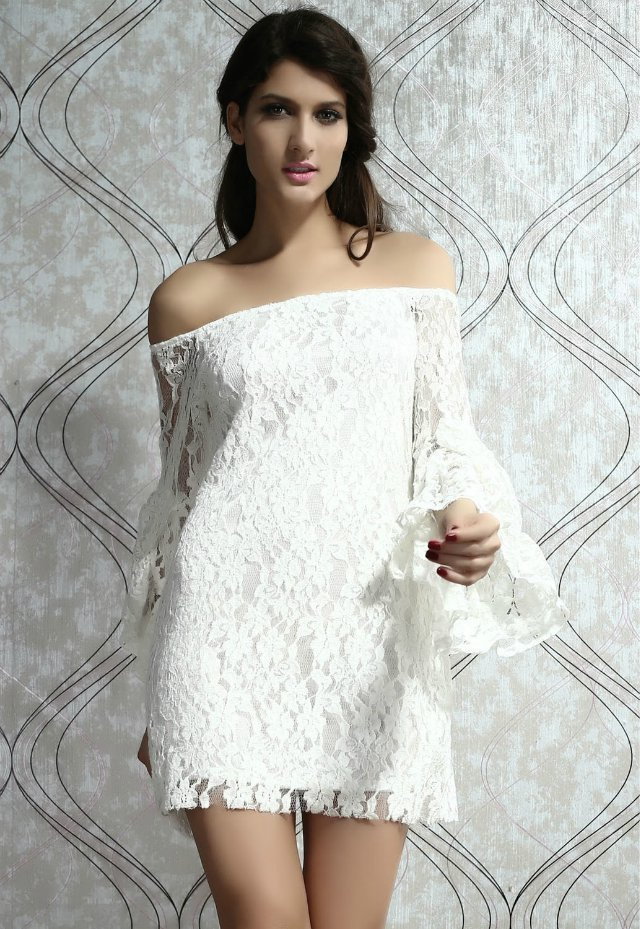 332b385c12de LA17940 Cheap Price Women s Casual Style Cream Lace Spring Dress Long Bell  Sleeve White Off the shoulder Mini Dress-in Dresses from Women s Clothing  on ...