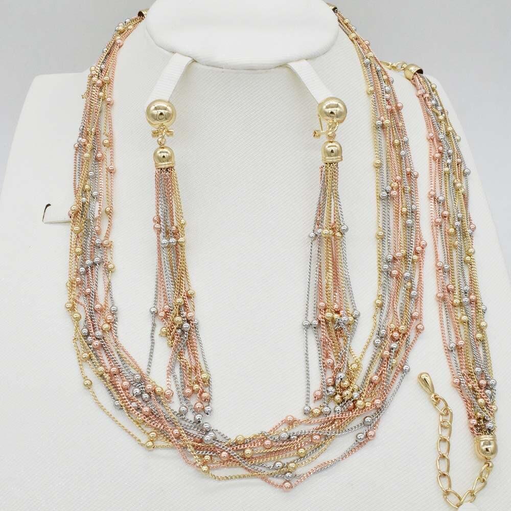 2018 fashion earring necklace set dubai gold jewelry sets for women nigerian beads jewelry set african wedding jewelry set