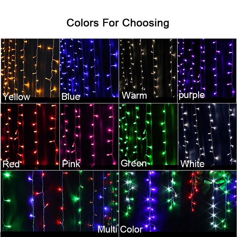 10 * 5m 1600 Żarówki LED Zasłony Garland ciąg światło Boże - Oświetlenie wakacje - Zdjęcie 4