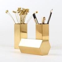 Flor de ouro vaso caneta titular desktop recipiente de armazenamento para escritório em casa hexágono luxo metal caneta escovas titular|Porta-caneta|   -