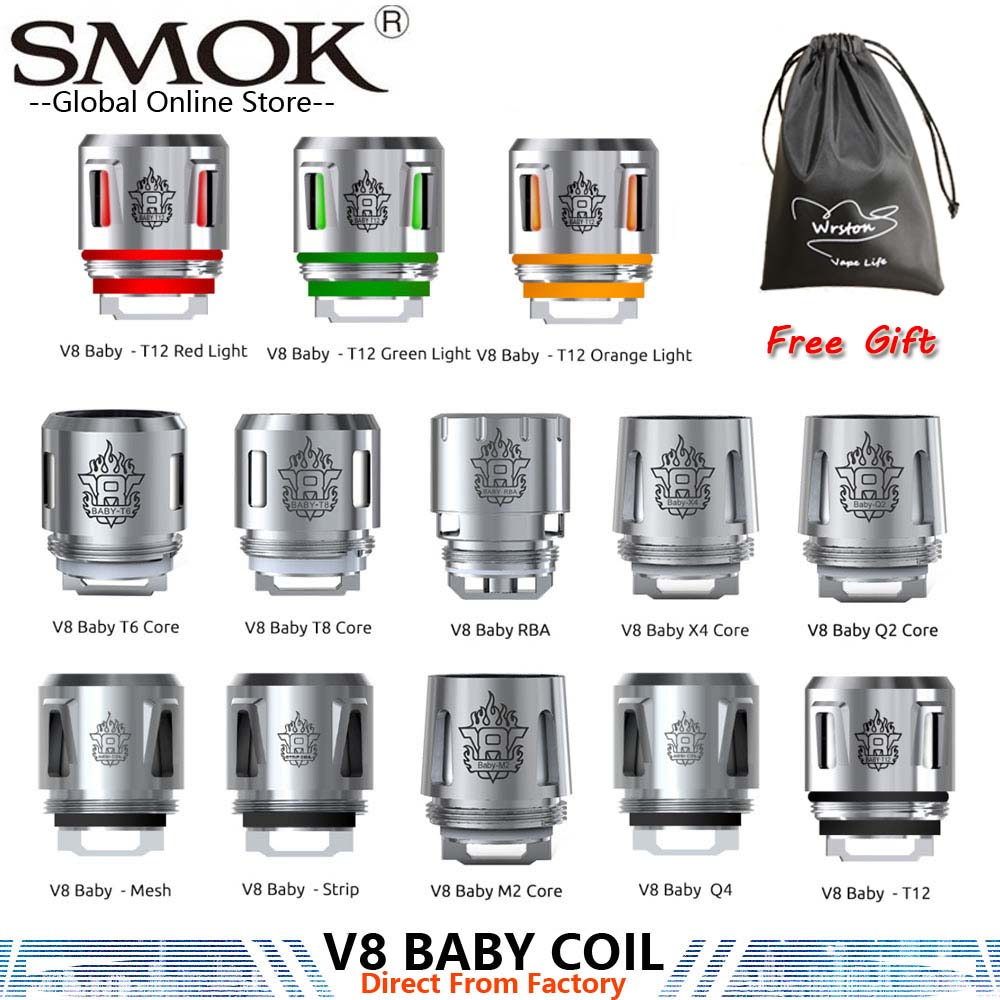 Original Smok TFV8 Baby Coil Q2 M2 T8 T12 Strip X4 T6 Mesh For SMOK TFV8 BIG BABY TFV12 Baby Prince Tank Fit For Smok Mag X Priv in Eletronic Cigarette Atomizer Cores from Consumer Electronics
