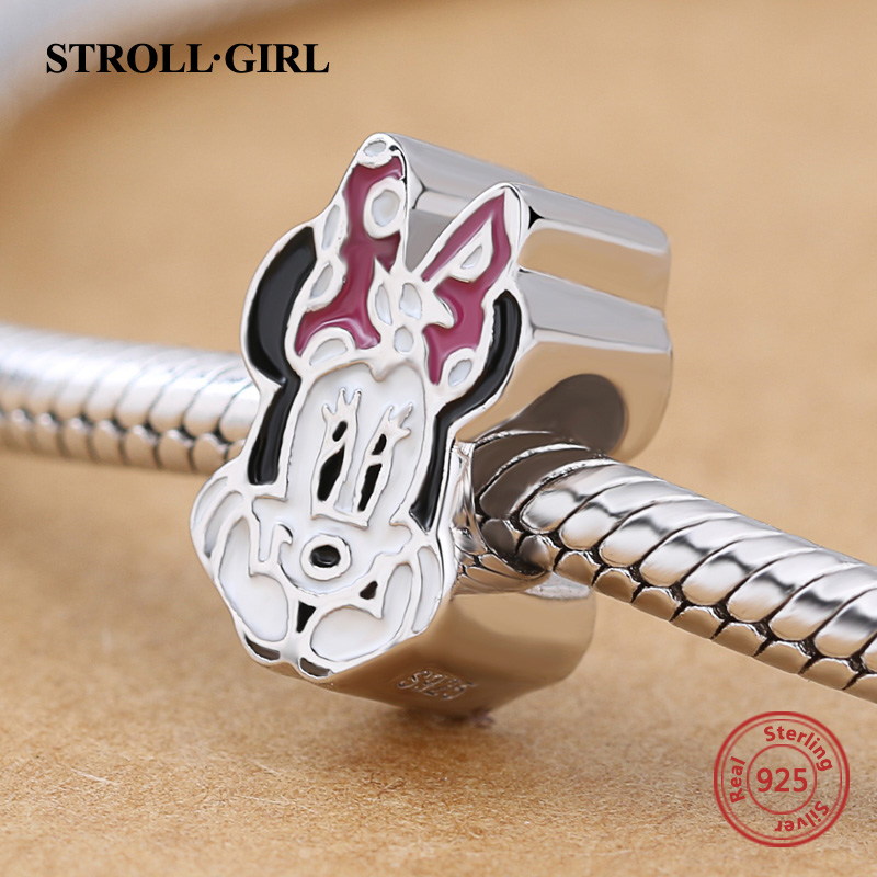 Summer 925 Sterling Silver Original Animal Minnie Mouse Beads Fit Authentic pandora Charm Bracelet Fashion Jewelry Woman Gifts