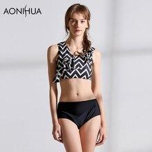 AONIHUA Womens Swimwear Crop Top Stripe Sexy Swimsuit