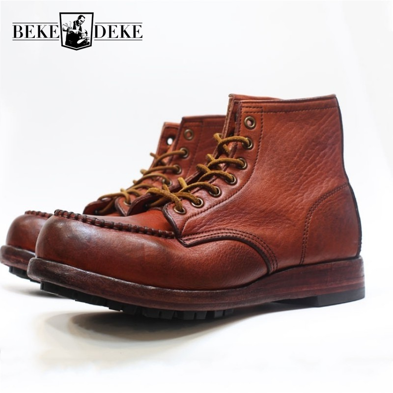 Square Toe Retro Vintage Genuine Leather Work Ankle Boots Brand Luxury Cowskin Men  Boots 2019 New Fashion Male Footwear