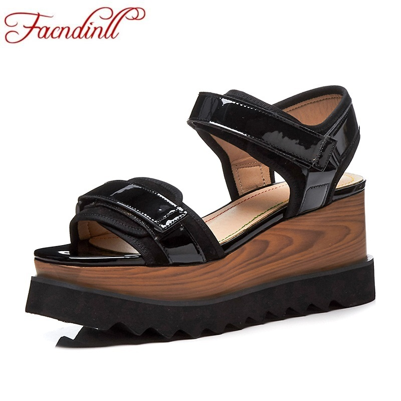 FACNDINLL 2018 summer women platform sandals new casual high heels open toe shoes woman dress sandals ladies wedges dress shoes facndinll new women summer sandals 2018 ladies summer wedges high heel fashion casual leather sandals platform date party shoes